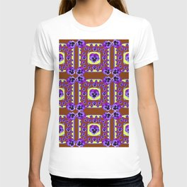 SPRING PANSY FLOWERS COFFEE BROWN GARDEN T-shirt