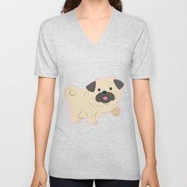 Cartoon Pug Dog Unisex V-Neck