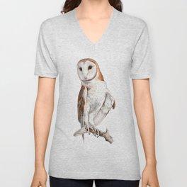 Barn Owl Watercolor Unisex V-Neck