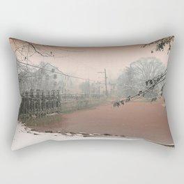 Mill Pond Snow, Allentown NJ by Ericka O'Rourke Rectangular Pillow