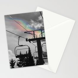 4 Seat Chair Lift Rainbow Sky B&W Stationery Cards