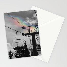 4 Seat Chair Lift Rainbow Sky B&W Stationery Cards