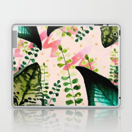 Abstract nature watercolor and gold Laptop & iPad Skin