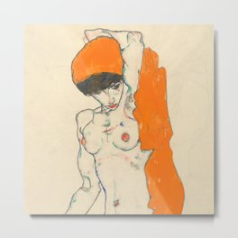 "Egon Schiele ""Standing Nude with Orange Drapery"" Metal Print"