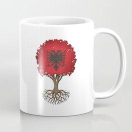Vintage Tree of Life with Flag of Albania Coffee Mug