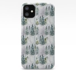 Watercolor forest green snow Christmas pine tree iPhone Case