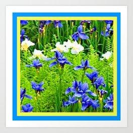 WHITE-BLUE IRIS & FERNS GARDEN Art Print