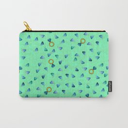 Diamond Pattern Cartoon Pins Ring Patch Style Teal Blue Cell Duck Egg Blue Design Carry-All Pouch