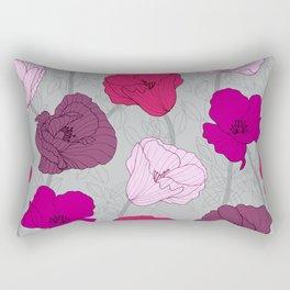 Purple Jewel Tone Hand Drawn Poppies Rectangular Pillow