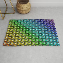 Glowing wicker pattern of rainbow squares and black rhombuses with volumetric triangles. Rug
