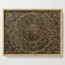 Decorative Ek Onkar / Ik Onkar  embossed on gold Serving Tray