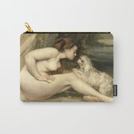 Puppy Love : Nude Woman with A Dog Carry-All Pouch