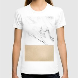 White Marble with Black and Copper Bronze T-shirt