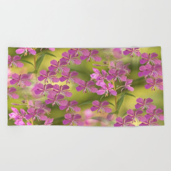 Rosebay Willowherb flowers  Beach Towel