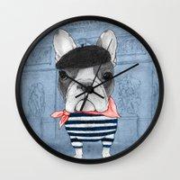 french bulldog Wall Clocks featuring French Bulldog. by Barruf