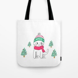Adorable Little Cat in Christmas Time. Tote Bag