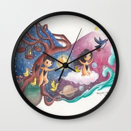Girl Flying Off with Penguins, Leaving Boy, Cages and Ducks on His Planet Wall Clock