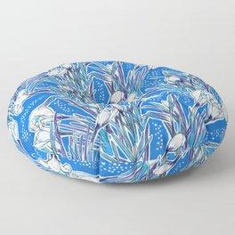White Crocuses, Spring Flowers, Botanical Floral Pattern, Mariner Blue Floor Pillow