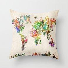 world map floral Throw Pillow