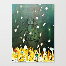 Line Draw Painting of Girl (Slow Burn) Canvas Print