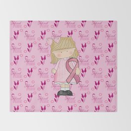 Think Pink Breast Cancer Awareness Throw Blanket