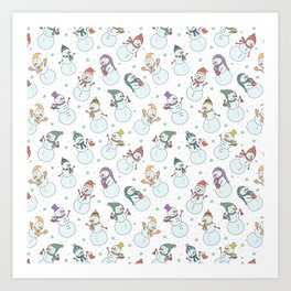 Cute pastel blue red snowman Christmas pattern Art Print