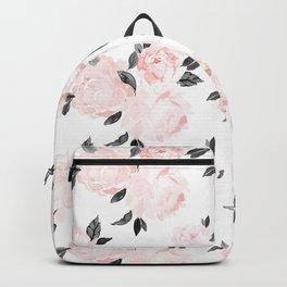 Vintage Blush Floral BW -medium Backpack