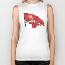 worker holding a flag - industry poster (design for labor day) Biker Tank