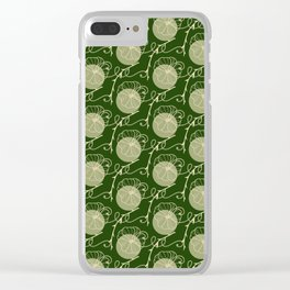Floral Pattern | Subtle Green on Forest Green Clear iPhone Case