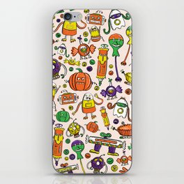 Monster Halloween Candy Bots in Orange, Green, & Purple  // Fall Holiday Themed Candy Robots iPhone Skin