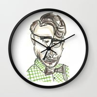 tom selleck Wall Clocks featuring Tom by Sadie Padial