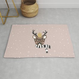 Holiday Deer Illustration Rug
