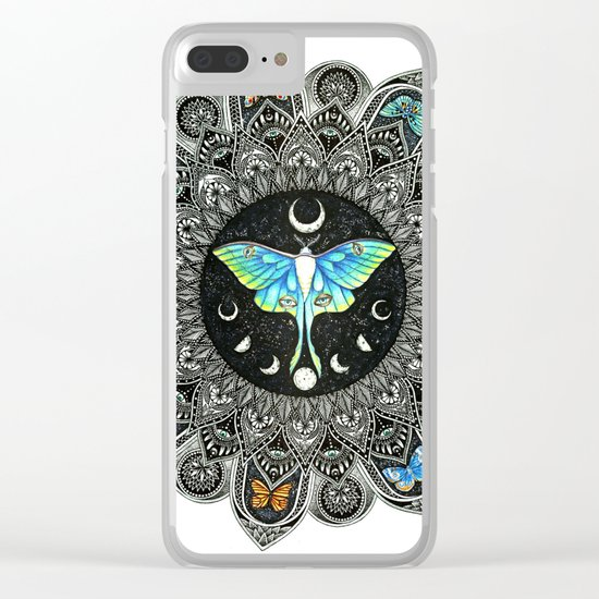 Lunar Moth Mandala Clear iPhone Case