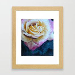 Pink and Yellow Rose painting Framed Art Print