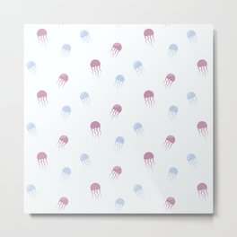 Sea pattern with jellyfishes Metal Print