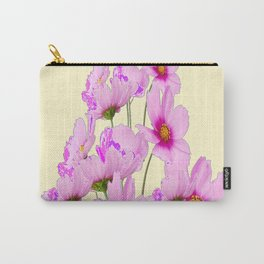 PINK COSMOS GARDEN FLOWERS ON CREAM COLOR Carry-All Pouch