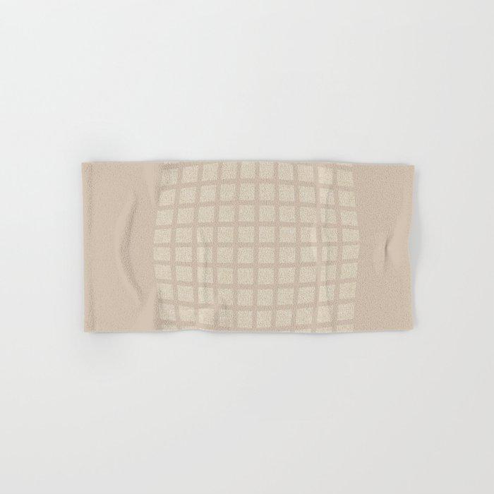 Linen Cream Checked Pattern Hand Bath Towel By Technonl Society6