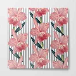 Pink Orchids And Grey Pinstripes Metal Print