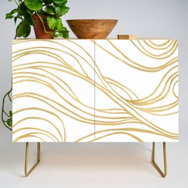 Gold Shimmer Swirls - Abstract Waves Credenza