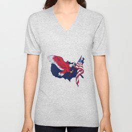 AMERICAN FLAG EAGLE PATRIOTIC Unisex V-Neck