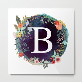 Personalized Monogram Initial Letter B Floral Wreath Artwork Metal Print
