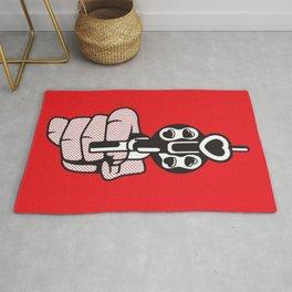 Roy Lichtenstein's print of a smoking gun Rug