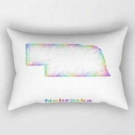 Rainbow Nebraska map Rectangular Pillow