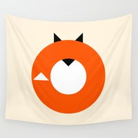 minimalist Wall Tapestries featuring A Most Minimalist Fox by Nicholas Ely