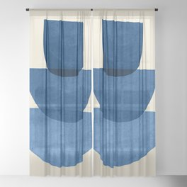 Abstract Shapes 37-Blue Sheer Curtain
