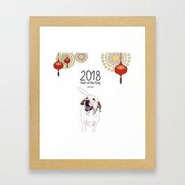 Year of the Dog - White Labrador Framed Art Print