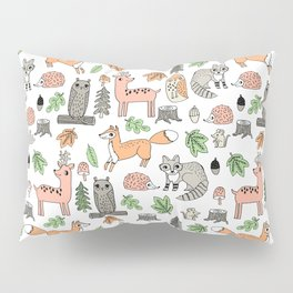 Woodland foxes rabbits deer owls forest animals cute pattern by andrea lauren Pillow Sham