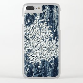 Silver sequins Clear iPhone Case