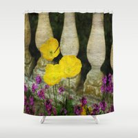 concrete Shower Curtains featuring Concrete Flowers by BeachStudio