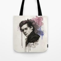 harry styles Tote Bags featuring Harry Styles by bellavigg